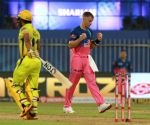 File Photo: Tom Curran of RR takes a wicket of Kedar Jadhav of CSK during a match