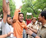 ABVP activists protest against Railways Minister Pawan Bansal near his residence