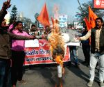 ABVP demonstration against Bihar boat tragedy