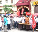 Left affiliated Central Trade Unions protest against privatisation in Railways