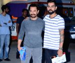 Aamir Khan and Virat Kohli during the shoot for a chat show