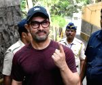 2019 Lok Sabha Elections - Phase 4 - Aamir Khan casts vote