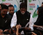 Amitabh Bachchan during a cleanliness programme