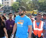 Jackky Bhagnani during a Beach Clean Up programme