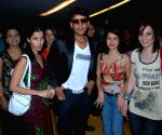 "Actor Ravi Kissan along with his friends at the film premiere of ""Bhoomiputra""."