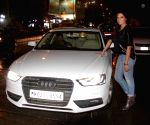 Richa Chadda snapped with her Audi A4 car