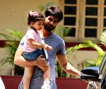Shahid Kapoor and his daughter seen at Bandra