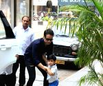 Tusshar Kapoor and son Lakshya seen at Bandra