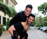 "Akshay Kumar, John Abraham together promote their upcoming films ""Mission Mangal"" and ""Batla House"