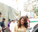 Priyanka Chopra with Darshan Kumar and her mother at Andhericha Raja Ganesh Pandal