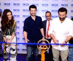 Sunny Deol, Karan Deol and Sahher Bambba at the launch of a cinema hall