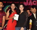 Actors Sunny Leone and Sachiin Josh during a promotional event of their upcoming film 'Jackpot'