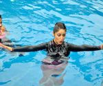 Yami Gautam practice Speedo Aquafit-Vertical underwater fitness training