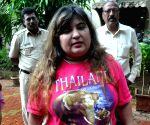 Actress Dolly Bindra at a Mumbai police station to register a complaint against threat