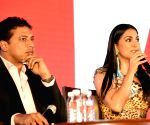 Lara Dutta, Mahesh Bhupati at a press conference