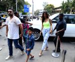 Shilpa Shetty and her family seen at Bandra