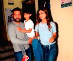 Shilpa Shetty Kundra, Raj Kundra and Viaan Raj Kundra seen at a cinema theatre