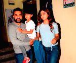 Shilpa Shetty Kundra, Raj Kundra and Viaan Raj Kundra seen at a cinema theatre