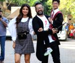 Shilpa Shetty seen with husband and son