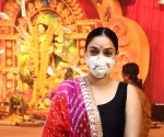 Sharbani Mukherjee, Debu Mukherjee & Sumona Chakravarti during Maha Ashtami celebrations