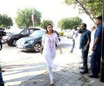 Swara Bhaskar arrives at Raj Kumar Barjatya's residence