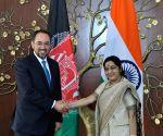 Afgan Foreign Minister Rabbani meets Sushma Swaraj