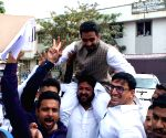 AIMIM candidate Majid Hussain celebrates after winning from Mehdipatnam division in GHMC elections