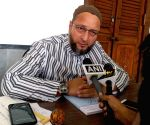 Asaduddin Owaisi talks to the media