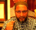 Asaduddin Owaisi talks to the media