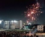 GHMC election results: AIMIM workers celebrate party's performance with fireworks at Darussalam