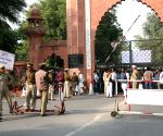 Aligarh Muslim University Students' Union stages a demonstration