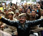 Guwahati:  Home Guards demonstrate to press for various demands including ammendment in Home Guard Act, 1947