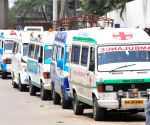 Ambulances lined up at Peenya crematorium for the last rites of COVID-19 victims amid surge in coronavirus cases, in Bengaluru