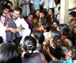 Rahul Gandhi interacts with children during his Vidarbha padyatra