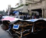 Advertising gate collapses during rains