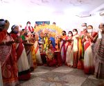 Durga idol immersed indoors to avoid river pollution at Arambagh community puja pandal on Vijayadashami