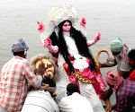 Goddess Durga idol immersion after Jagadhatri Puja