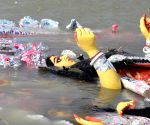 Durga idol immersed in river Ganga on Vijayadashami