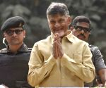 Andhra Pradesh Chief Minister and TDP supremo N. Chandrababu Naidu during a roadshow in Hyderabad on Dec 3, 2018.(Image Source: IANS)