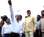 Andhra Pradesh CM Naidu inspects the ongoing works at the Pushkar ghat