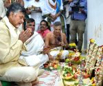 Chandrababu Naidu at the inauguration of his new office