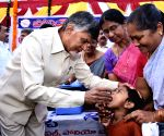 N. Chandrababu Naidu during Pulse Polio programme