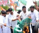AP Youth Congress activists set fire national flag of Pakistan
