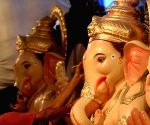 Lord Ganesha idols at a workshop