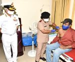 Vizag navy hospital vaccinates 40 frontline workers for Covid