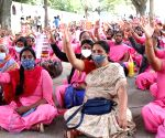 ASHA workers protest demanding hike in wages, safety kits