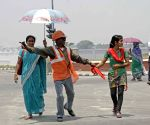 Dancing traffic volunteer