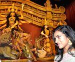 PV Sindhu inaugurates Sreebhumi Sporting Club Durga Puja pandal