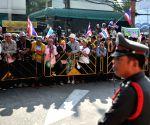Thai anti-government protesters block the gate of Thai-Japanese Stadium