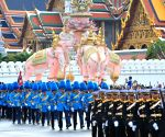 Thai soldiers take part in a parade